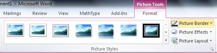 منوی ابزار تصویر و گزینه کادر تصویر